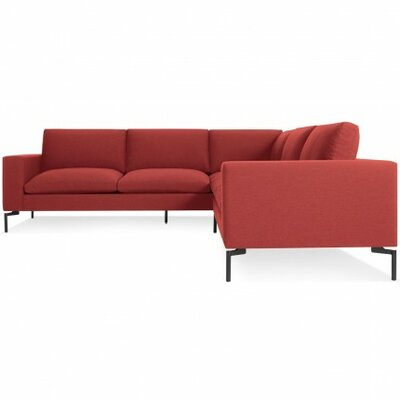New Standard Right Sectional - Small Leg Finish: Black, Upholstery: Nixon Red
