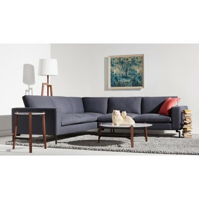 The New Standard Right Sectional Leg Finish: Black, Upholstery: Dark Brown