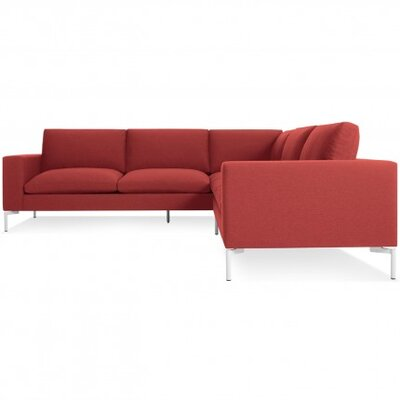 New Standard Right Sectional - Small Upholstery: Nixon Red, Leg Finish: White