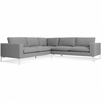 The New Standard Right Sectional Upholstery: Spitzer Grey, Leg Finish: White