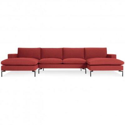 New Standard U-Shaped Sectional Leg Finish: Black, Upholstery: Nixon Red