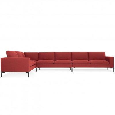 New Standard Left Sectional Leg Finish: Black, Upholstery: Nixon Red