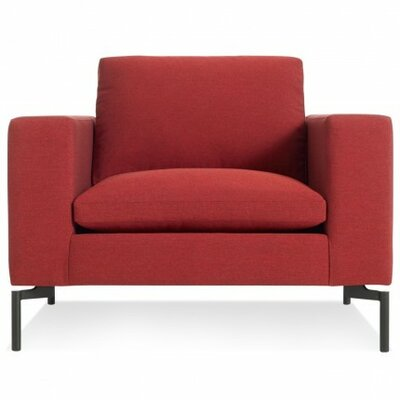 The New Standard Armchair Upholstery: Nixon Red, Leg Finish: Black