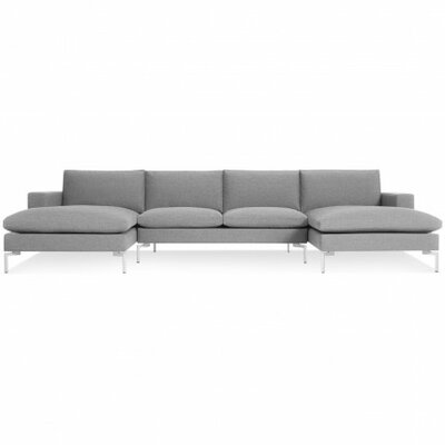 The New Standard Sectional Collection Body Fabric: Spitzer Grey, Leg Color: White