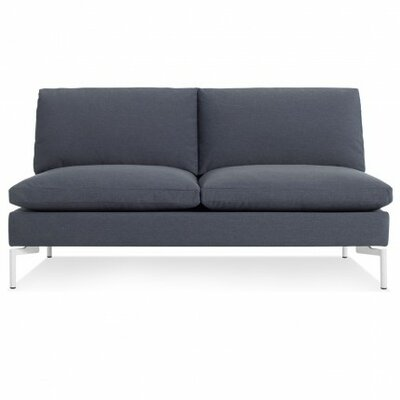 The New Standard Armless Loveseat Body Fabric: Nixon Blue, Leg Color: White