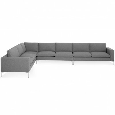 The New Standard Left Sectional Upholstery: Spitzer Grey, Leg Finish: White