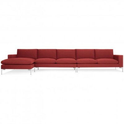 New Standard Sectional - Medium Upholstery: Nixon Red, Leg Finish: White