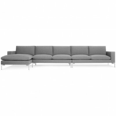 The New Standard Sectional Collection Body Fabric: Spitzer Grey, Leg Color: White, Orientation: Left hand facing