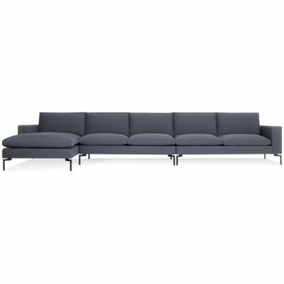 The New Standard Sectional Collection Body Fabric: Nixon Blue, Leg Color: Black, Orientation: Left hand facing