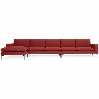 New Standard Sectional - Medium Leg Finish: Black, Upholstery: Nixon Red