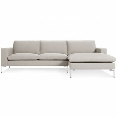 The New Standard Sectional Upholstery: Nixon Sand, Leg Finish: White