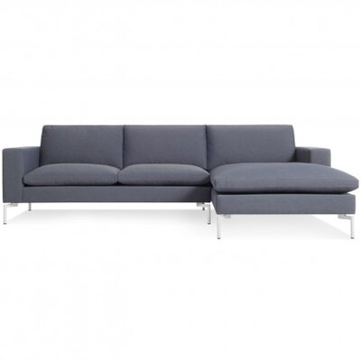 The New Standard Sectional Collection Body Fabric: Nixon Blue, Leg Color: White