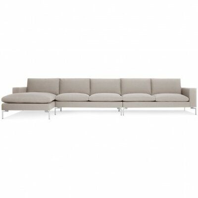 The New Standard Sectional Collection Body Fabric: Nixon Sand, Leg Color: White, Orientation: Left hand facing
