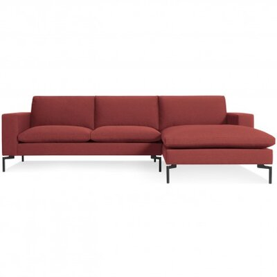 The New Standard Sectional Leg Finish: Black, Upholstery: Nixon Red