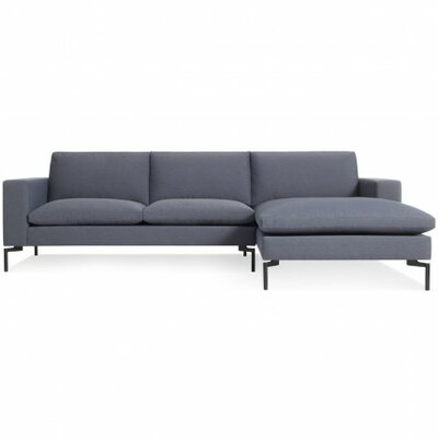 The New Standard Sectional Upholstery: Nixon Blue, Leg Finish: Black