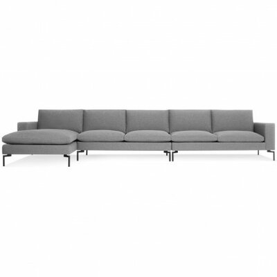 The New Standard Sectional Collection Body Fabric: Spitzer Grey, Leg Color: Black, Orientation: Right hand facing