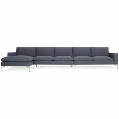 The New Standard Sectional Collection Body Fabric: Nixon Blue, Leg Color: White, Orientation: Left hand facing