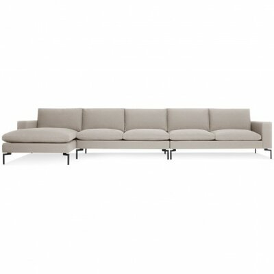 The New Standard Sectional Collection Body Fabric: Nixon Sand, Leg Finish: Black, Orientation: Left hand facing