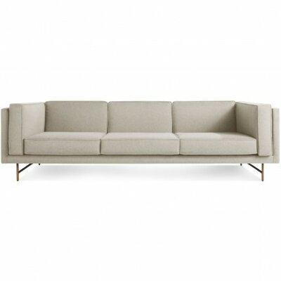 Bank Sofa Frame Finish: Brass Legs, Upholstery: Linen