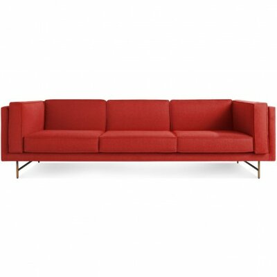 Bank Sofa Frame Finish: Brass Legs, Upholstery: Brick