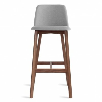 Chip 31.5 inch Bar Stool Upholstery: Pewter, Leg Finish: Walnut