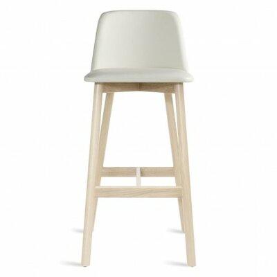 Chip 31.5 inch Bar Stool Upholstery: White Leather, Leg Finish: White Wash Ash