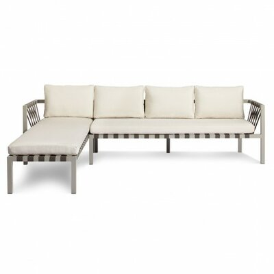 Jibe Outdoor Left Sectional with Cushions Cushion Color: Sunbrella Canvas, Frame Finish: Grey