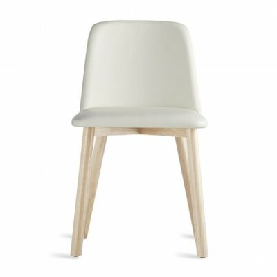 Chip Side Chair in White Leather Color: White Wash Ash
