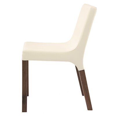 Knicker Genuine Leather Upholstered Dining Chair Body Fabric: White