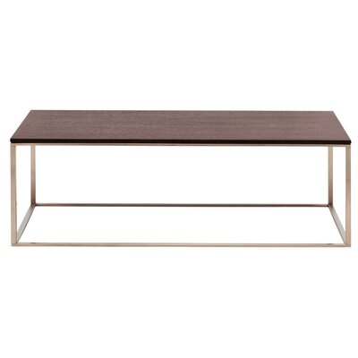 Minimalista Coffee Table Top Finish: Graphite on Oak, Base Finish: Stainless Steel