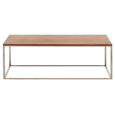 Minimalista Coffee Table Base Color: Stainless Steel, Top Color: Walnut