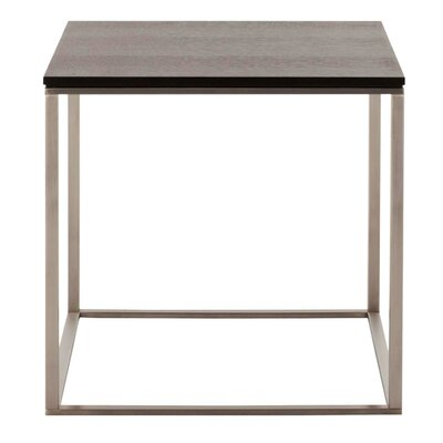Minimalista End Table Base Finish: White, Top Finish: Marble