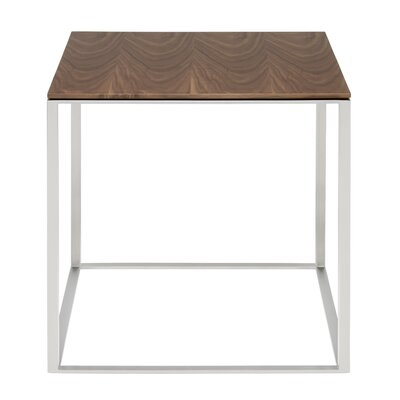 Minimalista End Table Base Color: White, Top Color: Walnut