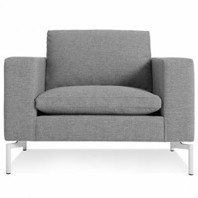 The New Standard Armchair Leg Finish: White, Upholstery: Spitzer Grey
