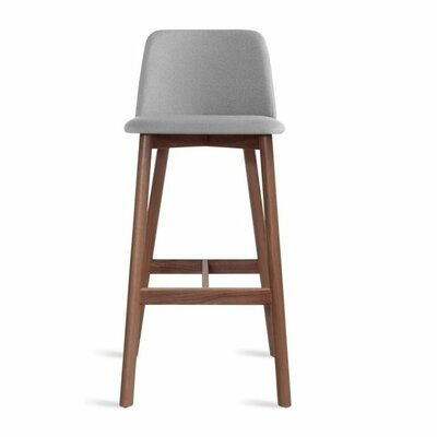 Chip 25 Bar Stool Body Fabric: Pewter, Leg Finish: Walnut