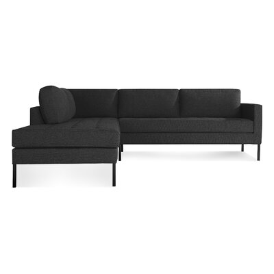 Paramount Sectional Sofa Body Fabric: Libby Charcoal, Leg Color: Metal, Sectional Orientation: Left Hand Facing