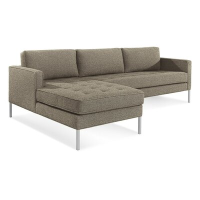 Paramount Sofa with Chaise Body Fabric: Sanford Black, Leg Color: Stainless Steel, Sectional Orientation: Left Hand Facing