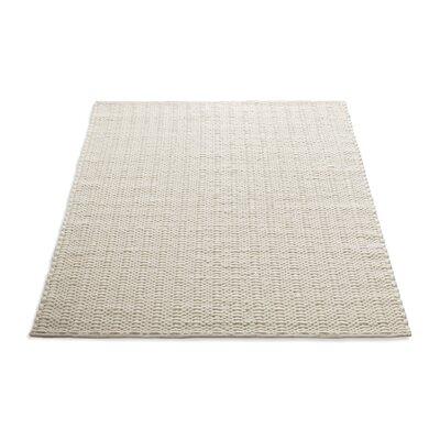 Uni Hand-Woven Wool Cream Area Rug Rug Size: 5 x 8