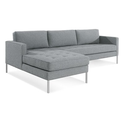 Paramount Sofa with Chaise Body Fabric: Sanford Ceramic, Leg Color: Stainless Steel, Sectional Orientation: Left Hand Facing