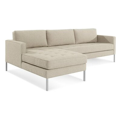 Paramount Sofa with Chaise Body Fabric: Sanford Oatmeal, Leg Color: Stainless Steel, Sectional Orientation: Left Hand Facing