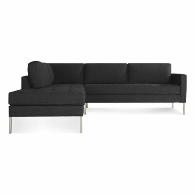 Paramount Sectional Sofa Body Fabric: Libby Charcoal, Leg Color: Stainless Steel, Sectional Orientation: Left Hand Facing