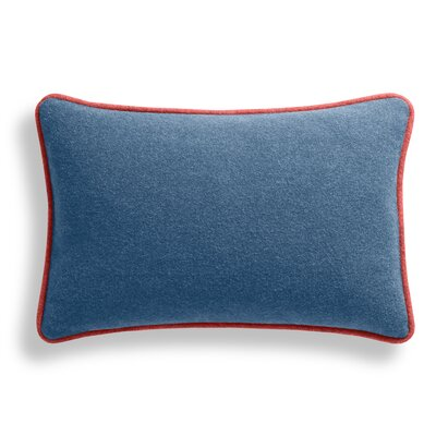 Duck Duck Lumbar Pillow Color: Thurmond Marine Blue/Light Gray/Tomato Piping, Size: 13 x 19
