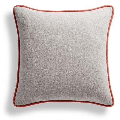 Duck Duck Square Pillow Color: Thurmond Marine Blue/Light Gray/Tomato Piping
