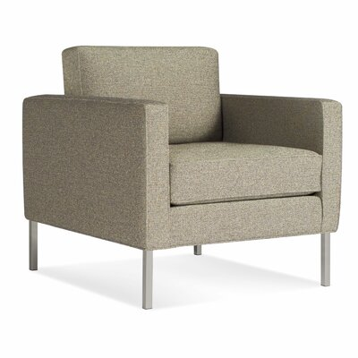 Paramount Armchair Body Fabric: Sanford Ash, Leg Color: Stainless Steel