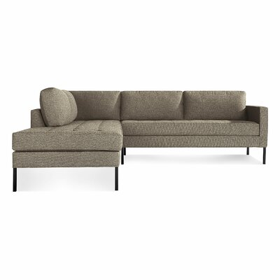 Paramount Sectional Sofa Body Fabric: Sanford Black, Leg Color: Metal, Sectional Orientation: Left Hand Facing