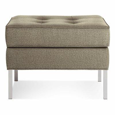 Paramount Large Square Ottoman Body Fabric: Sanford Oatmeal, Leg Color: Blackened Metal