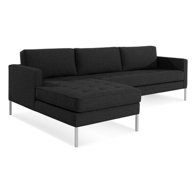 Paramount Sofa with Chaise Body Fabric: Libby Charcoal, Leg Color: Stainless Steel, Sectional Orientation: Left Hand Facing