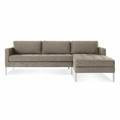 Paramount Sofa with Chaise Body Fabric: Sanford Black, Leg Color: Stainless Steel, Sectional Orientation: Right Hand Facing