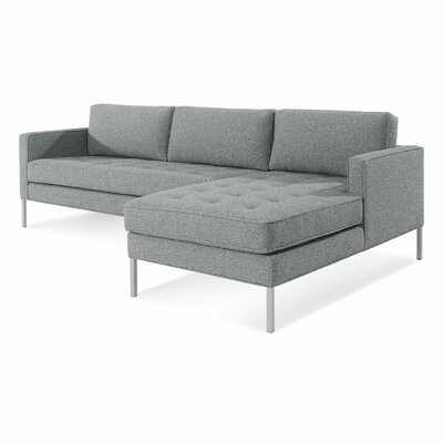 Paramount Sofa with Chaise Body Fabric: Sanford Ceramic, Leg Color: Stainless Steel, Sectional Orientation: Right Hand Facing