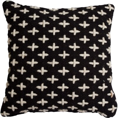 Mima Cross Stitch Wool Throw Pillow Color: Black/White